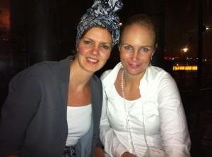 Jag och Nina Larsdotter från Litet förlag, lite rödmosiga i ansiktet